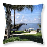 Melbourne Beach Pier In Florida Throw Pillow