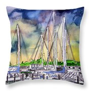 Melbourne Florida Marina Throw Pillow