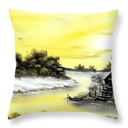 Mellow Yellow Sold Throw Pillow