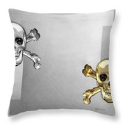 Memento Mori - Gold And Silver Human Skulls And Bones On White Canvas Throw Pillow