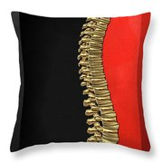 Memento Mori - Gold Human Backbone Over Black And Red Canvas Throw Pillow