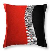Memento Mori - Silver Human Backbone Over Red And Black Canvas Throw Pillow