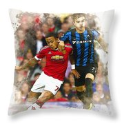 Memphis Depay Of Manchester United In Action Throw Pillow