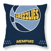 Memphis Grizzlies Vintage Basketball Art Throw Pillow