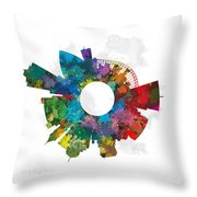 Memphis Small World Cityscape Skyline Abstract Throw Pillow