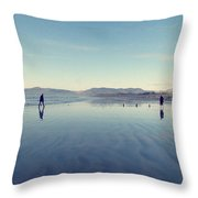 Men At Beach Throw Pillow