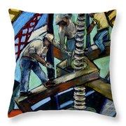 Men At Work Throw Pillow