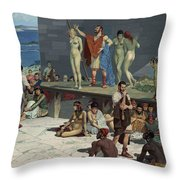 Men Bid On Women At A Slave Market Throw Pillow