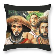 Men From New Guinea Throw Pillow