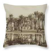 Men With Goats Under Palm Trees On The Water In Bedrechen, Bonfils, C. 1895 - In Or Before 1905 Throw Pillow