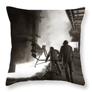 Men Working Blast Furnace At Steel Throw Pillow