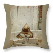 Mendicant In Meditation Throw Pillow