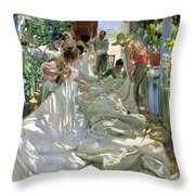 Mending The Sail Throw Pillow by Joaquin Sorolla y Bastida