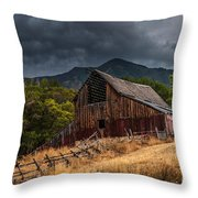 Mendon Utah Barn In Storm Throw Pillow by Gary Whitton