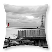 Menominee North Pier Lighthouse On Ice Throw Pillow