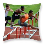 Mens Hurdles Throw Pillow