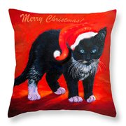 Meow Christmas Kitty Throw Pillow