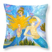 Mer Mum And Comb Throw Pillow