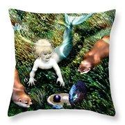 Merbaby's Treasures Throw Pillow