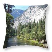 Merced River In Yosemite Throw Pillow