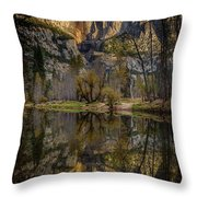 Merced River Morning Light Reflection Throw Pillow