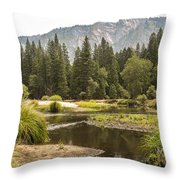Merced River Yosemite Valley Yosemite National Park Throw Pillow