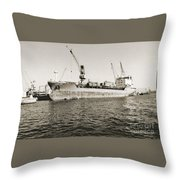 Merchant Ship Docked At Barcelona's Harbour Throw Pillow