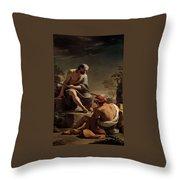 Mercury Lulling Argus To Sleep By Ubaldo Gandolfi Throw Pillow