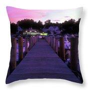 Meredith Nh Boardwalk At Twilight Throw Pillow