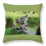 Mergansers In Flight Throw Pillow