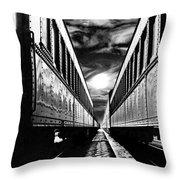 Merging Trains Throw Pillow
