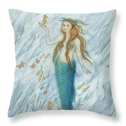 Mermaid And Her Golden Seahorse Throw Pillow