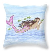 Mermaid And Her Sea Turtle Throw Pillow