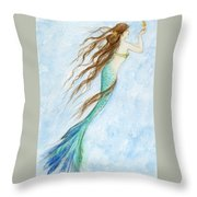 Mermaid And Her Seahorse Throw Pillow