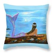 Mermaid Beauty On The Beach Throw Pillow