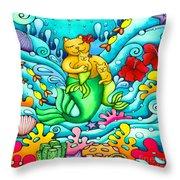 Mermaid Cat And Baby Kitten  Throw Pillow