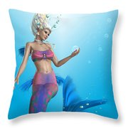 Mermaid In Aqua Throw Pillow