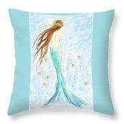 Mermaid In Her Garden Throw Pillow