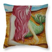Mermaid On Sand With Heart Throw Pillow