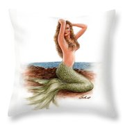 mermaid On The Shore Throw Pillow