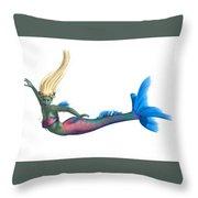 Mermaid On White Throw Pillow