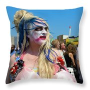 Mermaid Parade Man In Coney Island Throw Pillow