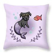 Mermaid Pit Bull 2 Throw Pillow