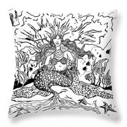 Mermaid Queen Throw Pillow