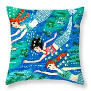 Mermaid Race Throw Pillow by Sushila Burgess