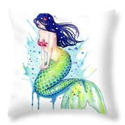Mermaid Splash Throw Pillow