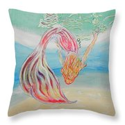 Mermaid Summer Salt Throw Pillow
