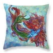 Mermaid Swimming Throw Pillow