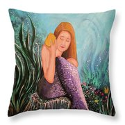 Mermaid Under The Sea Throw Pillow