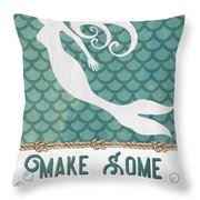 Mermaid Waves 1 Throw Pillow